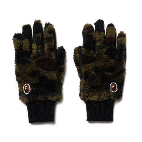 A BATHING APE 1st Camo Boa Gloves Green, Accessories
