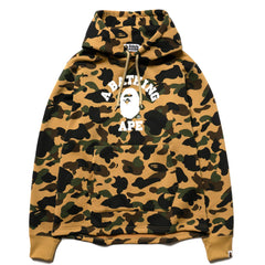 A BATHING APE 1st Camo College Wide Pullover Hoodie Yellow, Sweaters