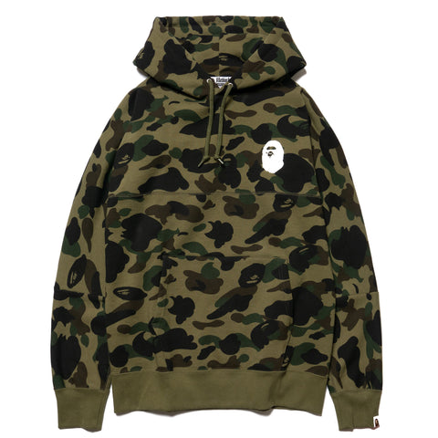 A BATHING APE 1st Camo Big Logo Wide Pullover Hoodie Green, Sweaters