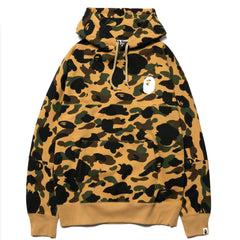 A BATHING APE 1st Camo Big Logo Wide Pullover Hoodie Yellow, Sweaters