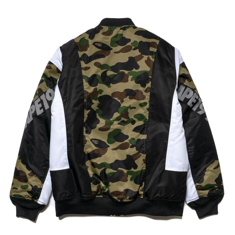 A BATHING APE 1st Camo Color Block Down Jacket Green, Outerwear
