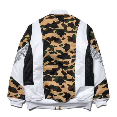 A BATHING APE 1st Camo Color Block Down Jacket Yellow, Outerwear