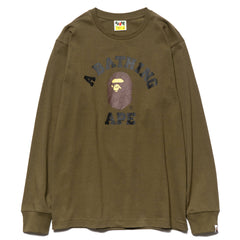 a bathing ape bape College L/S Tee olive drab