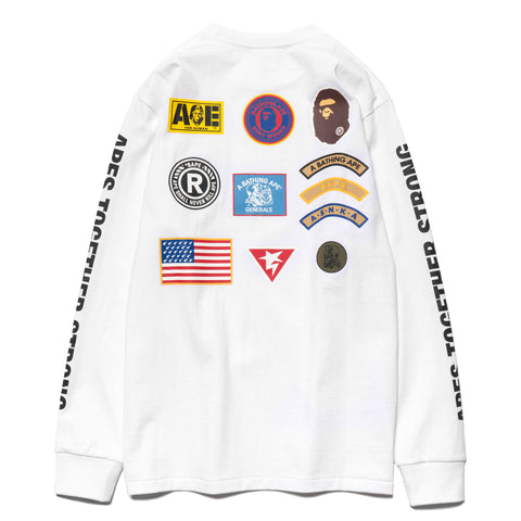 a bathing ape bape Patched L/S Tee white