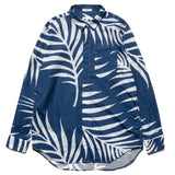 Big Leaf Print Short Collar Shirt Navy