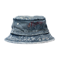 KAPITAL KOUNTRY 11.5oz Denim Damaged Poke Pie Hat IDG, Headwear