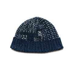 KAPITAL 7G Sashiko Patchwork Knit Cap Navy, Headwear