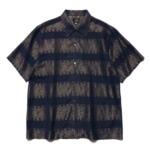 Needles Cut off Bottom S/S One-Up Shirt R/C/PE Jacquard Navy, Tops