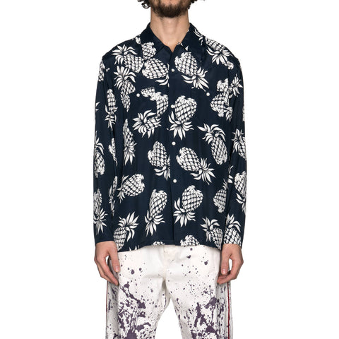 Needles One Up Cowboy Shirt Rayon Cloth Sateen Pineapple Navy, Tops