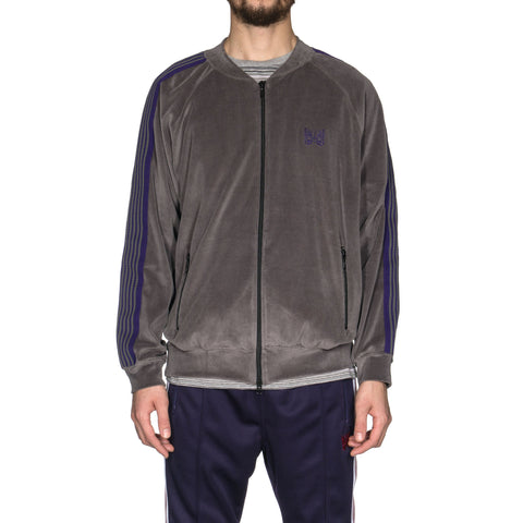 Needles Rib Collar Track Jacket C/PE Velour Gray, Jackets