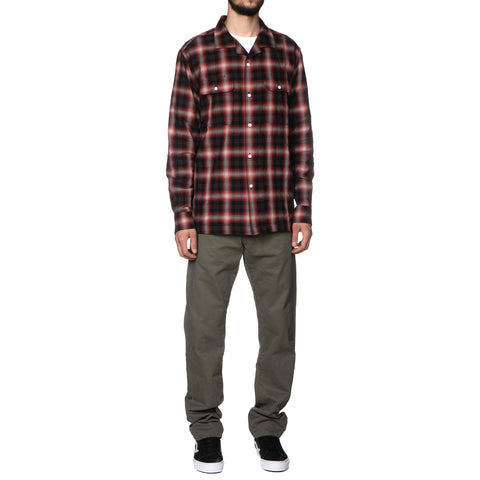 HAVEN Open Collar Shirt - Shadow Plaid red