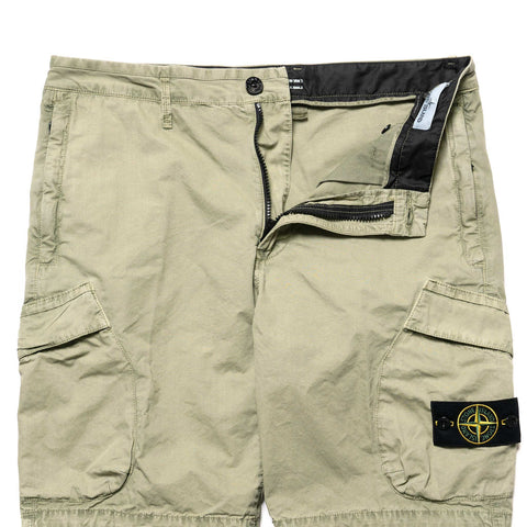 Stone Island Brushed Cotton Canvas Garment Dyed -Old Effect- 2 Pocket Short Sage, Bottoms