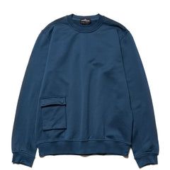 Stone Island Shadow Project Mercerised Supima Cotton Fleece Garment Dyed Crewneck Blue Marine, Sweaters
