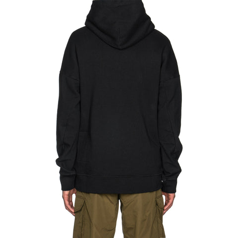 Ten c Garment Dyed Mako Cotton Fleece PO Hoodie Black, Sweaters