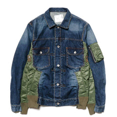 sacai Denim Jacket Blue x Khaki, Jackets