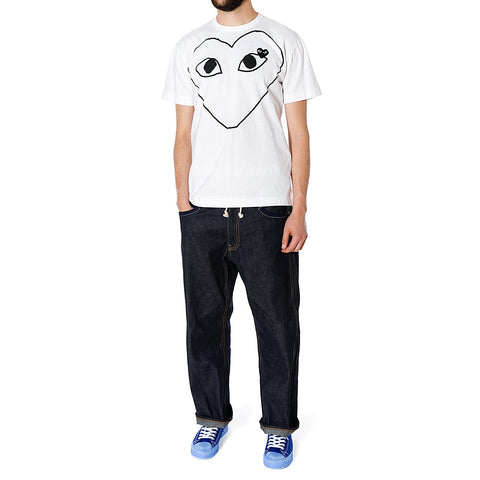 CDG PLAY Cotton Jersey Print Black Line Heart Black Emblem Tee White