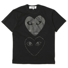 cdg play Cotton Jersey Print Double Heart Back Logo Tee Black