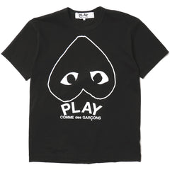 CDG PLay Cotton Jersey Print Upside Down Line Heart Logo Tee Black