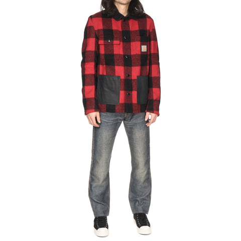 Junya Watanabe MAN eYe x Carhartt Wool Check x Cowhide Jacket Red/Black
