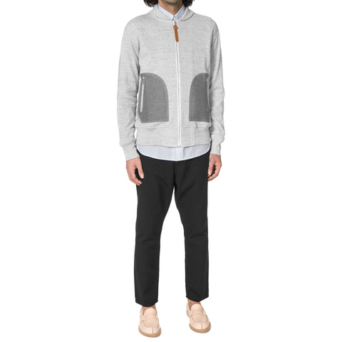 Junya Watanabe MAN Cotton Circular Rib Zip Sweater Light gray