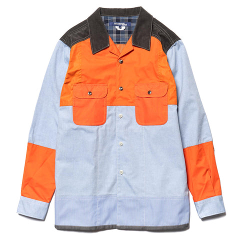 Junya Watanabe MAN Cotton Oxford x Nylon Taffeta Lamitated Shirt Sax x Orange