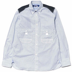 Junya Watanabe MAN Cotton Poplin Dot Pattern x Cotton Check Shirt White/Blue/Navy x Navy