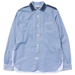 Junya Watanabe MAN Cotton Poplin Square Pattern x Cotton Metal Broad Shirt White/Blue x Navy/White