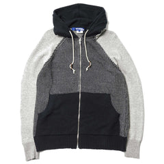 Junya Watanabe MAN Cotton Roving Jacquard Hoodie Navy x Gray
