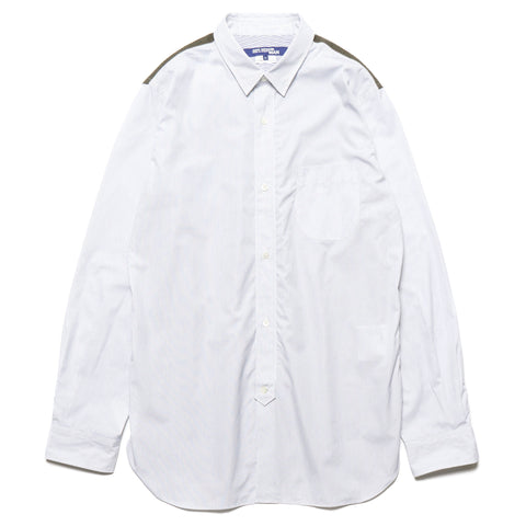 Cotton Stripe x Nylon Rip Shirt White x Navy