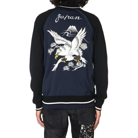 Junya Watanabe MAN Polyester x Wool Jersey Eagle Pattern Embroidered Cardigan Black x Navy