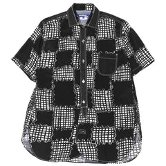 Junya Watanabe MAN Rayon Cloth Print x Cotton Dobby Shirt Black/White x Black