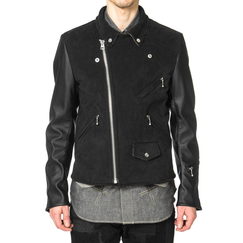 Junya Watanabe MAN eYe Ester Wool Suede Back Pile x Synthetic Leather Jacket