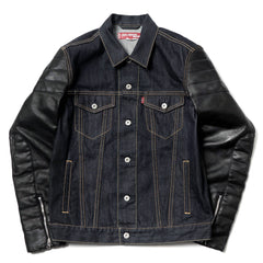 Junya Watanabe MAN eYe x Levi's Cotton Denim x Synthetic Leather Jacket Indigo x Black