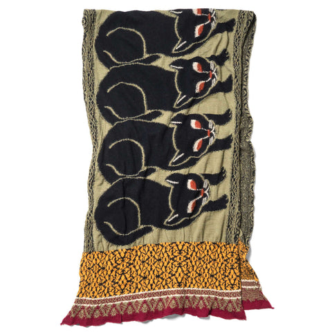 KAPITAL Compressed Wool Scarf Bagdad Cat