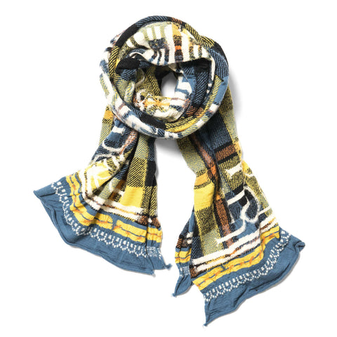 KAPITAL Compressed Wool Scarf Tartan Ainu