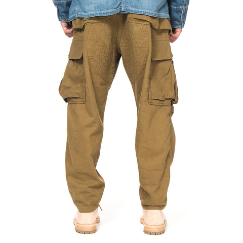 KAPITAL Cotton x Linen Twill Czech Cargo Pants Khaki