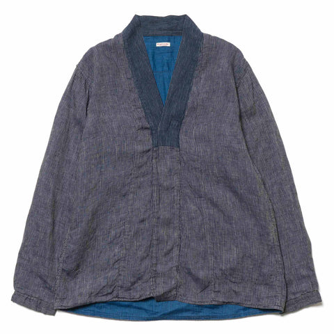 KAPITAL IDG Linen Bamboo Stripe x French Cloth Linen BONZE Hiyoku Shirt