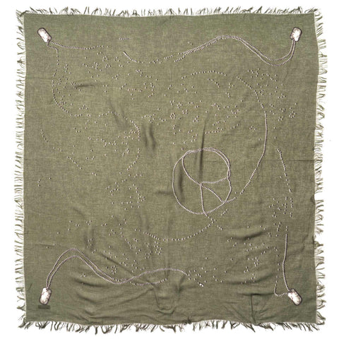 KAPITAL BIG Fringed Bandana (Ball Chain) Khaki