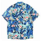 Crash Denim Rayon Aloha Shirt Blue