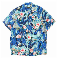Kapital Crash Denim Rayon Aloha Shirt Blue