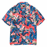 Crash Denim Rayon Aloha Shirt Red