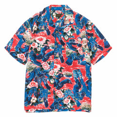 KAPITAL Crash Denim Rayon Aloha Shirt Red