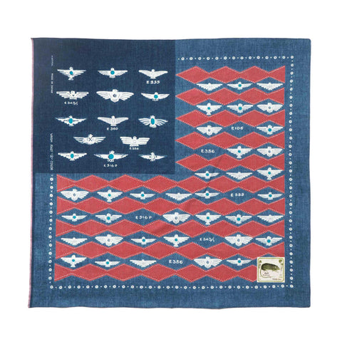 KAPITAL IDG Discharge Dye Selvedge Bandana (Flag Harvey Collection) Red