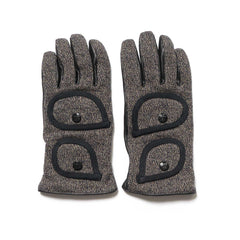KAPITAL Leather x Beach Fleecy Knit Gloves Charcoal