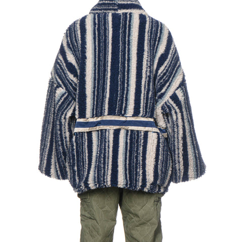 KAPITAL Primal Stripe Boa Fleece Kesa Jacket Stripe