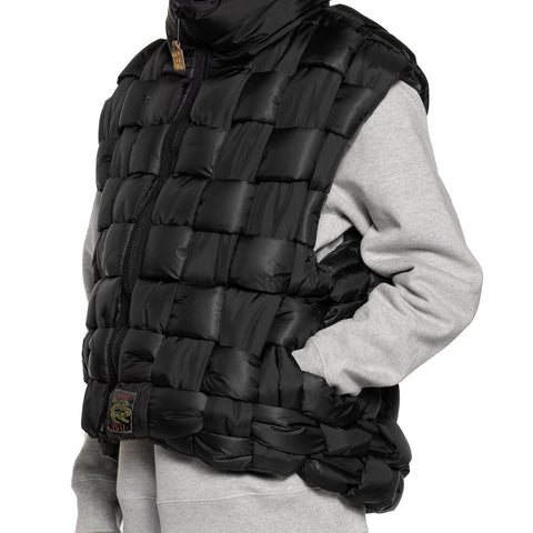 Kapital Rip Stop Nylon Keel Weaving Vest Black, Outerwear