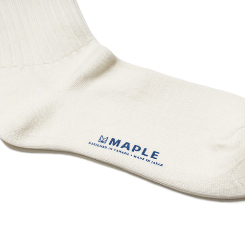 maple Ribbed Line Sock White