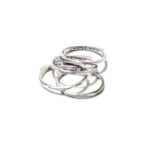 Maple Stackable Ring Silver