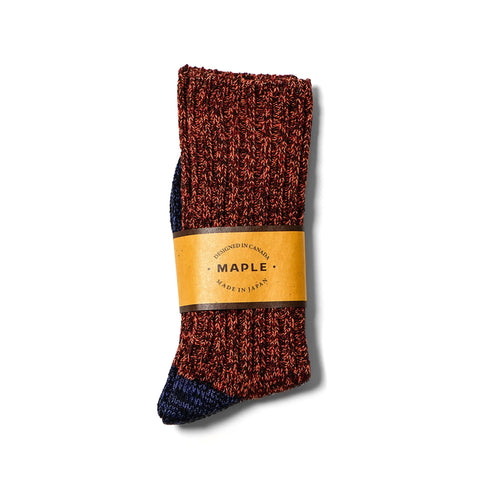 Maple 2-Tone Melange Sock Red