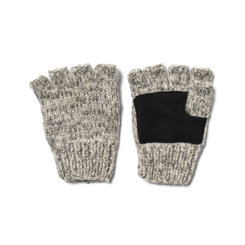 Maple Canada Knit Fingerless Gloves Heather Gray